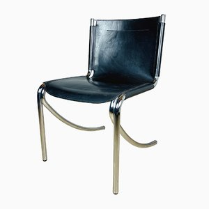 Mid-Century Black Chair Jot by Giotto Stoppino for Acerbis, Italy, 1970s