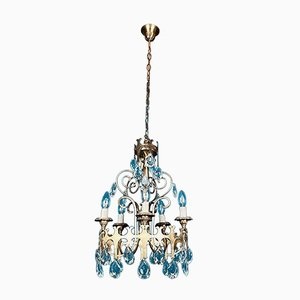 Vintage Chandelier with Crystal Drops, Italy, 1960s