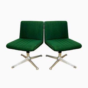 Sedie girevoli P125 Mid-Century verdi di Osvaldo Borsani per Tecno, Italia, anni '70