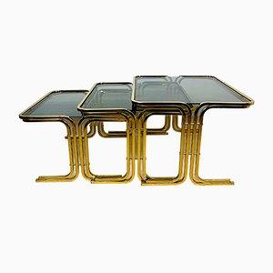 Mesas de centro Mid-Century de latón dorado, años 60. Juego de 3
