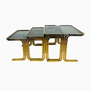 Mid-Century Gold Brass Coffee Tables, Italy, 1960s, Set of 3