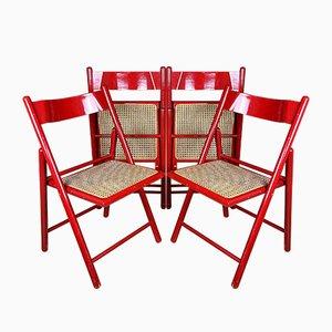 Mid-Century Klappbare Rote Esszimmerstühle, Italien, 1980er, 4er Set