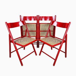 Mid-Century Red Folding Dining Chairs, Italy, 1980s, Set of 4