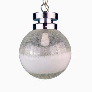 XL Mid-Century White Murano Globe Pendant Lamp, Italy, 1970s