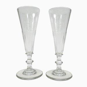 French Biedermeier Handblown Champagne Flutes, Set of 6
