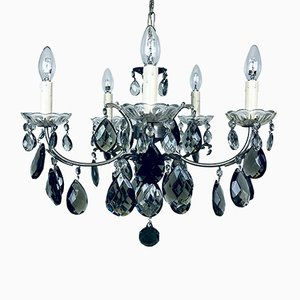 Lampadario Mid-Century in cristallo nero, Italia, anni '60