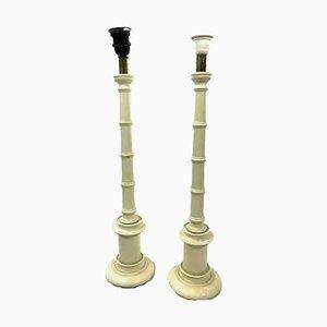 Lampade da tavolo laccate bianche in simil bambù, anni '80, set di 2