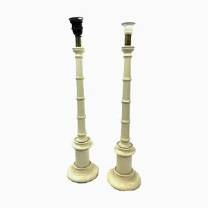 Lámparas de mesa Laquerade blancas de bambú sintético, años 80. Juego de 2