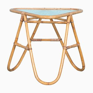 Mid-Century Bohemian Rattan Side Table with Glass Tabletop, 1960s