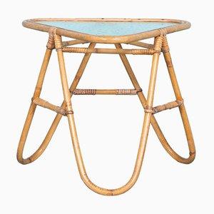 Tavolino bohémien Mid-Century in vimini con ripiano in vetro, anni '60