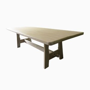 Large Mid-Century Limed Solid Oak Dining or Refectory Table