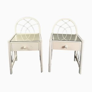 Spanish White Bamboo & Wicker Bedside Tables, 1980s, Set of 2