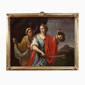 Judith y Holofernes, pintura italiana antigua, siglo XVIII, óleo sobre lienzo