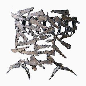 Große brutalistische handgeschmiedete Eisen Menora im Stil von David Palombo, Israel, 1960er