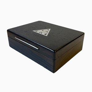 Mid-Century Mooreiche Box mit silbernem Kleeblatt von Axel Salomonsen, 1960er