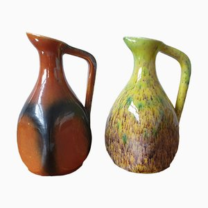 Ceramic Pitchers from Potiers Daccolay, Set of 2