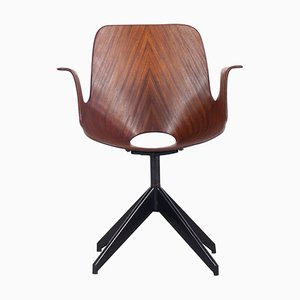 Medea Swivel Office Chair in Teak and Plywood by Vittorio Nobili, 1950s