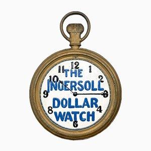Cartel publicitario de relojes Ingersoll de doble cara antiguo