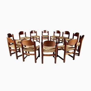Esszimmerstühle aus Eiche & Schilfrohr, Frankreich, 1960er, 12er Set