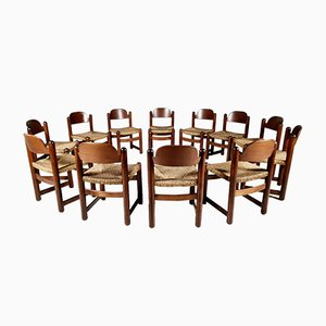 Oak and Cane Dining Chairs, France, 1960s, Set of 12