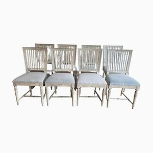 Set of 8 1930s Swedish Stick Back Painted Dining Chairs