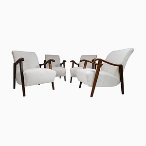 French Sculptural Armchairs in Oak, Set of 4