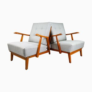Sculptural Armchairs in Oak, France, 1950s, Set of 2