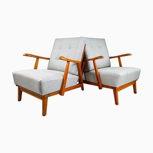 Skulpturale Sessel aus Eiche, Frankreich, 1950er, 2er Set