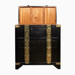 Chinese Ebonised Chest of Drawers with Top Lid, 1940s
