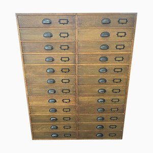 Vintage Industrial Museum Collectors 24-Drawer Chest of Drawers in Oak