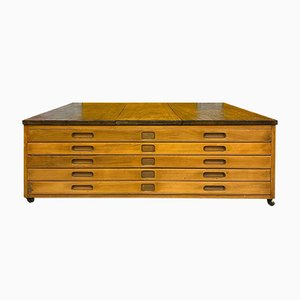 Large Mahogany and Oak Plan Chest of Drawers