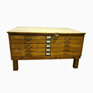 Mid-Century Architect's Plan Map Chest of Drawers in Oak