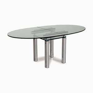 Glass and Chrome Dining Table in Silver from Draenert