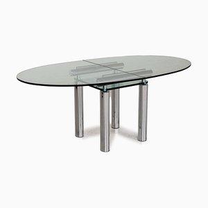 Tavolo da pranzo in vetro e metallo cromato di Draenert