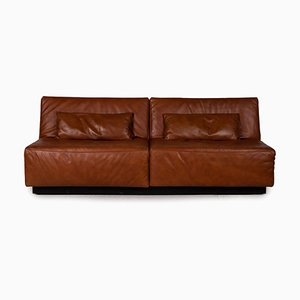 Brown Leather Tema 2-Seat Sofa with Sleeping Function by Franz Fertig