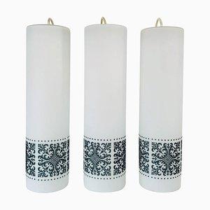 Lámparas colgantes de vidrio opalino de Glashütte Limburg, años 60. Juego de 3