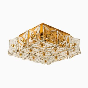 Gold-Plated Crystal Glass Flush Mount from Bakalowits & Söhne, Germany, 1970s