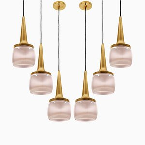 Brass Glass Cascade Fixtures from Staff, 1960s, Set of 2
