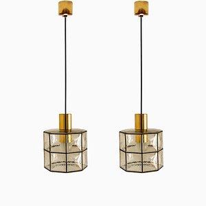 Lampes à Suspension en Laiton et Verre Topaze de Kalmar, 1960s, Set de 2