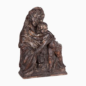 Madonna in terracotta con bambino toscano