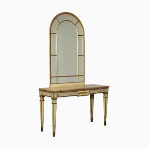 Revival Console with Mirror, Italy, 20th Century