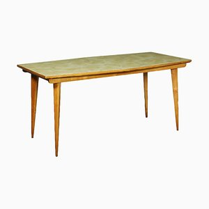 Beech and Back-Treated Glass Table, Italy, 1950s