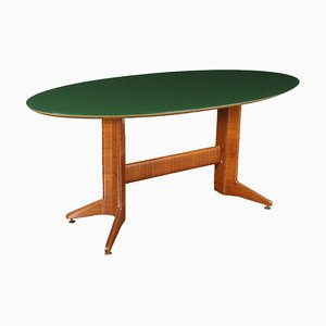 Veneered Wood and Back-Treated Glass Table, Italy, 1950s