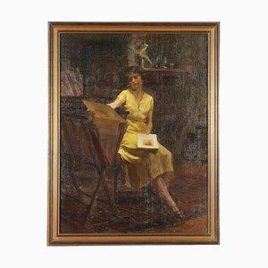Retrato femenino en el estudio, óleo sobre lienzo