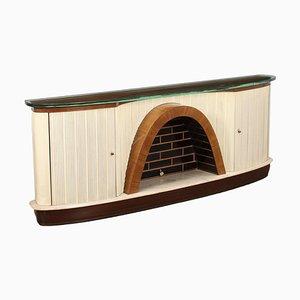 Mueble italiano de madera chapada y vidrio, años 50