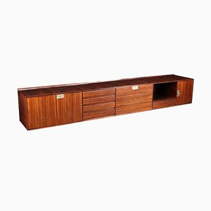 Sideboard with Veneered Wood and Brass, Italy, 1960s