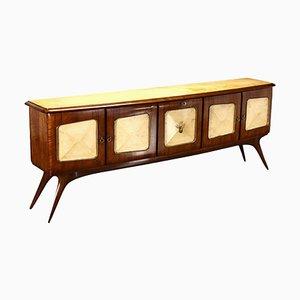 Mueble italiano de chapa de nogal y papel pergamino, años 50