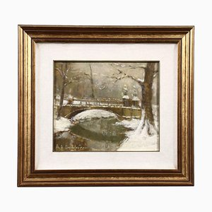 Ernesto Alcide Campestrini, Landscape Painting, Oil on Canvas