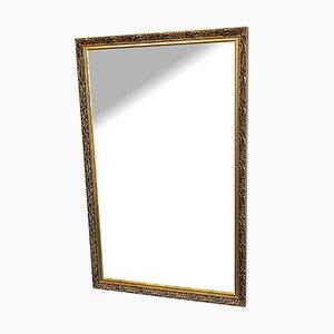 Mid-Century Golden Wooden Wall Mirror
