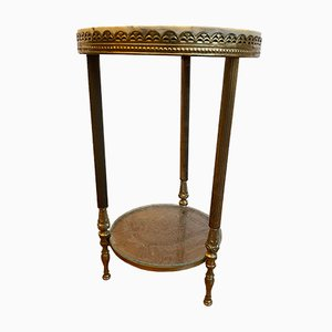 Mid-Century Flower Stool with Mamor Plate and Brass Frame